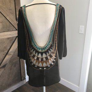 Sheer Black Long Sleeve Crochet Tunic Size M